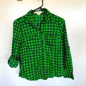 MICHAEL KORS Green Print Button Down Shirt Top MP